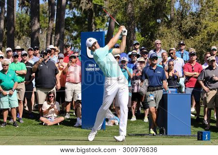 PONTE VEDRA BEACH, FL-MAR 14: Jordan Spieth tees off the 6th hole during the first round of The PLAYERS Championship on The Stadium Course at TPC Sawgrass on March 14, 2019 in Ponte Vedra Beach, Flori