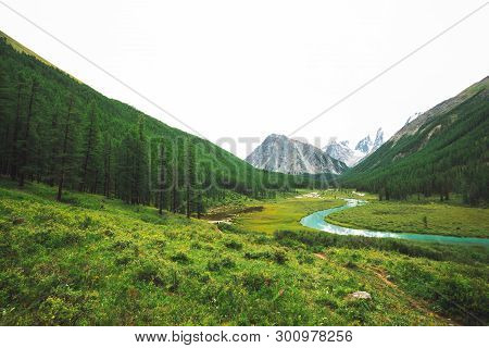 Mountain River Of Serpentine Shape In Valley Against Snowy Mountains. Water Stream In Brook Against