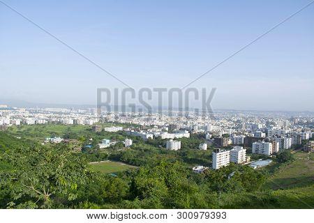 Pune City View From The Hill Maharashtra, India