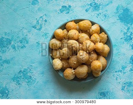 Gulab Jaman diwali sweets. Indian food. Top view poster