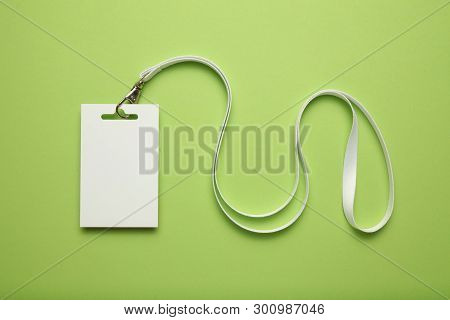 Isolated Name Tag Mockup On Green Background. Badge And Lanyard, Vip Pass.
