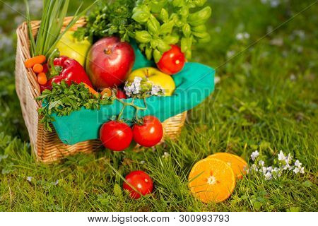 A Wonderful Wicker Basket With Vegetables And Fruits On The Background Of Green Grass.