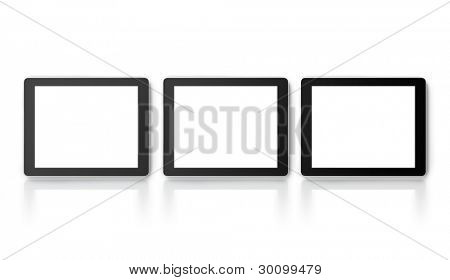 Three tablet PC or LCD monitors isolated on white with slight reflection.Square to image dimension, with pure white copyspace screen for easy overlay of custom images or messages of your choice.