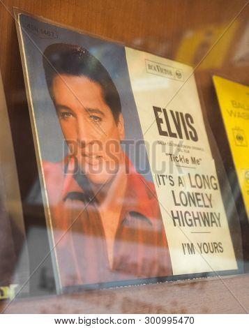 Turin, Italy - Circa May 2019: Elvis Presley Single 45 Rpm Vinyl Record