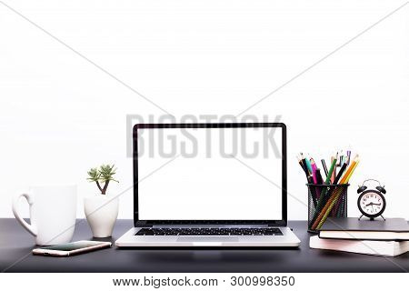 Laptop Background, Workspace With Laptop Computer, Office Supplies Gadget At Home Or Studio Office.