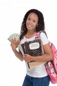 education fundraiser financial aid Ethnic black African-American college student holds pile 20 (twenty) dollar bills happy getting money help to subsidies costly university cost poster