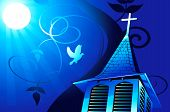 Illustration of a church in moonlight near bird with blue backgrounds poster
