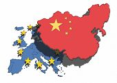 Illustration of China overshadowing and dominating the European nations and union. poster