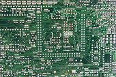 Abstract background with green computer circuit board poster