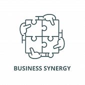 Business synergy vector line icon, linear concept, outline sign, symbol poster