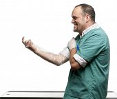Vet putting on a plastic glove in front of white background poster