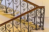 steps with handrails, forged staircase indoors, interior poster