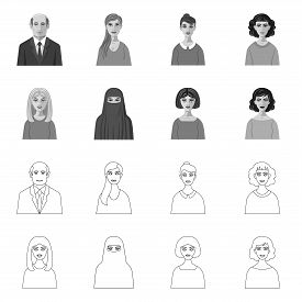 Isolated Object Of Hairstyle And Profession  Icon. Set Of Hairstyle And Character  Vector Icon For S