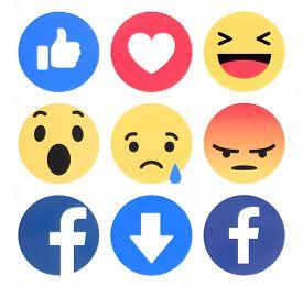 Kiev, Ukraine - April 11, 2019: Facebook 6 Empathetic Emoji Reactions Printed On White Paper. Facebo