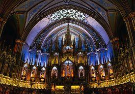 Montreal, Canada - September 28, 2018: Interior Of Notre Dame Basilica.