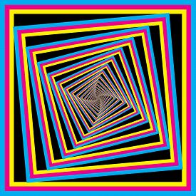 Cyan Magenta Yellow Black Color Swatches Square Spyral  Target Designer Illustrator Background