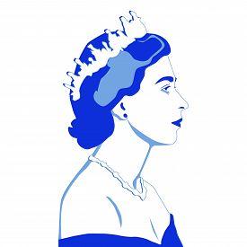 May, 2019, London, Uk: Vector Illustration, Portrait Of Queen Elizabeth Ii