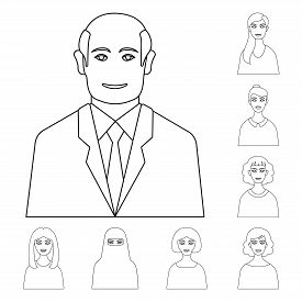 Isolated Object Of Character  And Avatar Icon. Collection Of Character  And Person Stock Symbol For