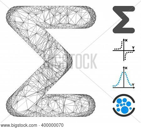 Vector Network Sum. Geometric Hatched Carcass Flat Network Generated With Sum Icon, Designed With Cr