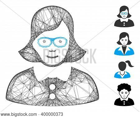 Vector Network Teacher Lady. Geometric Wire Carcass 2d Network Made From Teacher Lady Icon, Designed