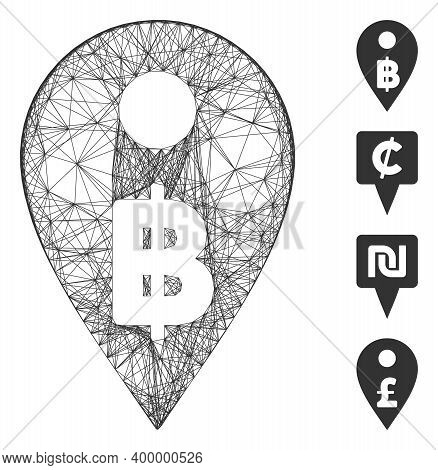 Vector Network Thai Baht Map Marker. Geometric Wire Carcass Flat Network Generated With Thai Baht Ma