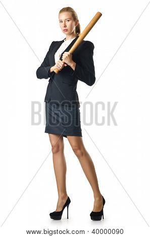 Businesswoman with baseball bat on white