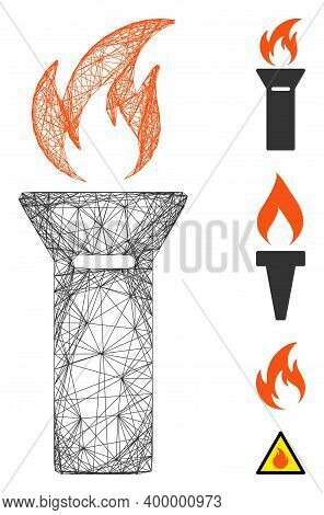 Vector Net Torch Flame. Geometric Hatched Carcass 2d Net Based On Torch Flame Icon, Designed From In