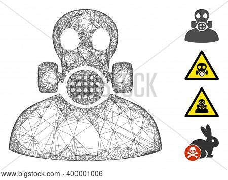 Vector Wire Frame Toxic Work. Geometric Wire Frame Flat Net Generated With Toxic Work Icon, Designed