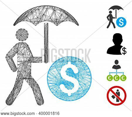 Vector Wire Frame Walking Banker With Umbrella. Geometric Wire Frame Flat Net Made From Walking Bank