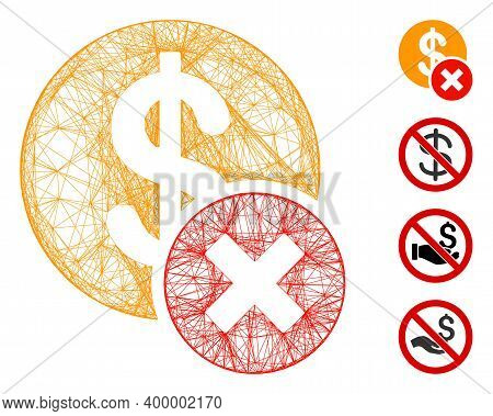 Vector Net Wrong Dollar. Geometric Hatched Carcass Flat Net Generated With Wrong Dollar Icon, Design
