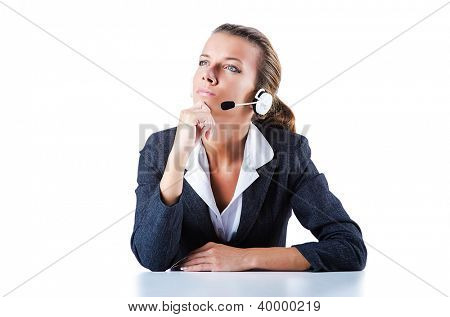 Female helpdesk operator on white