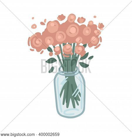 Vase With Flowers, Decor Element, Interior Design, Floristry. Simple Cartoon Flat Drawing. Vector Il