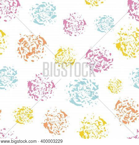 Colorful Paint Spatter Circles Seamless Vector Pattern Background. Irregular Tropical Color Painterl