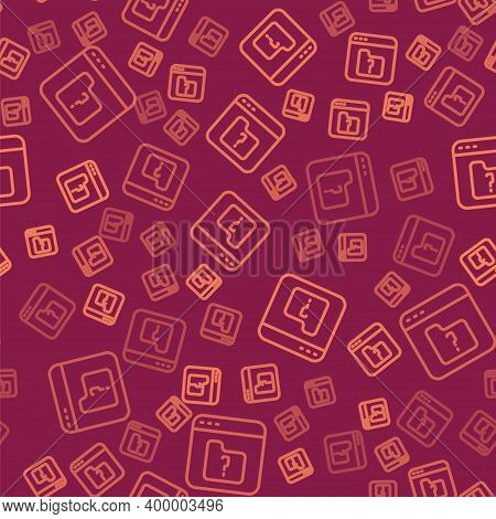 Brown Line File Missing Icon Isolated Seamless Pattern On Red Background. Vector