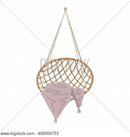 Hanging Rattan Swing Chair. Wicker Furniture. Vector Simple Drawing, Cartoon Flat Style