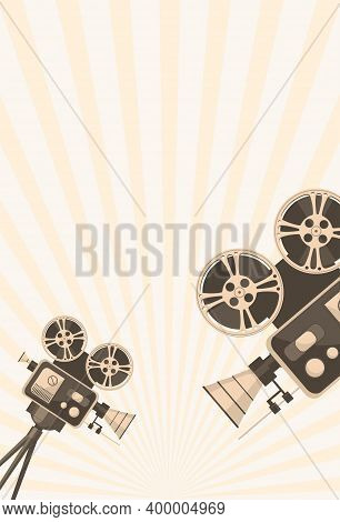 Detailed Retro Camera On Tripod With Film Reels On A Tripod. Cinema Movie Festival Poster. Cinema Ba