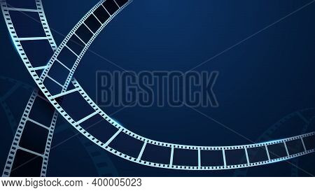 Realistic 3d Film Strips Isolated On Blue Background. 3d Isometric Style. Festive Cinema Template Wi