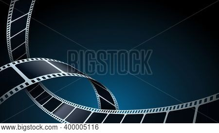 Realistic 3d Film Strips In Perspective. Modern Cinema Background. Template Poster For Cinema Festiv