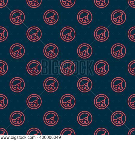 Red Line Washer Icon Isolated Seamless Pattern On Black Background. Washing Machine Icon. Clothes Wa