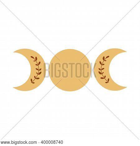 Triple Moon Phase Symbol. Boho Moon Logo. Yellow Moon Phase Isolated Icon, Alchemy Graphic Element