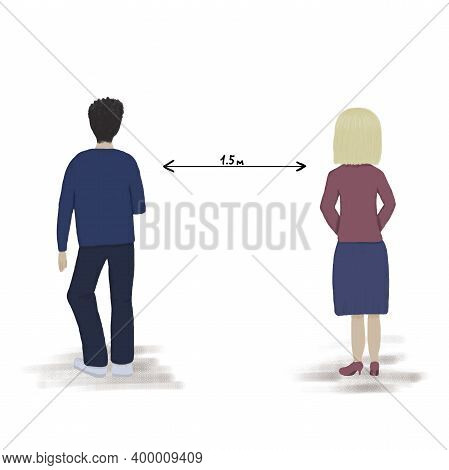 Maintaining Social Distance During A Pandemic. The Girl And The Man Stand At A Distance Of 1.5 Meter