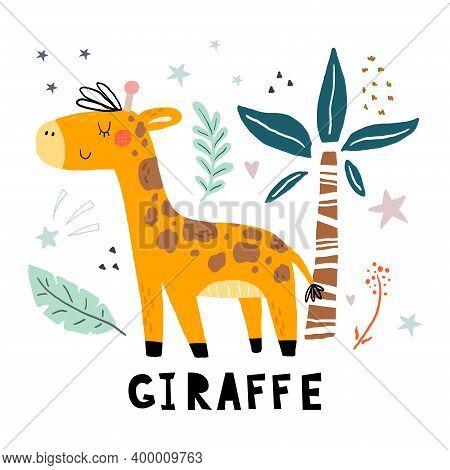 Funny Cute Scandinavian Giraffe Cartoon Style. Vector Print With Giraffe. Printable Templates. Vecto