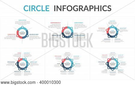 Circle Diagram Templates Set - 3, 4, 5, 6, 7 And 8 Elements, Circle Infographics, Vector Eps10 Illus