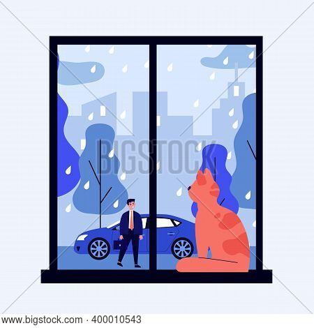 Red Cat In Windowsill. Pet Looking Out Window, Watching His Owner Outside In Rain Flat Vector Illust