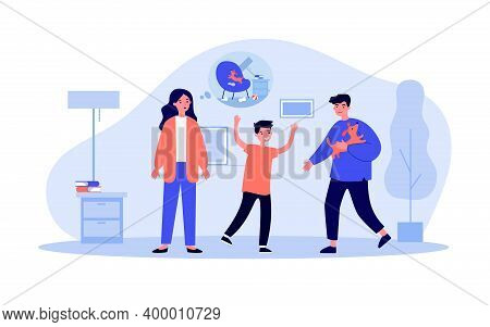 Family Adopting Dog. Cheerful Father And Kid, Concerned Mom Flat Vector Illustration. Domestic Anima