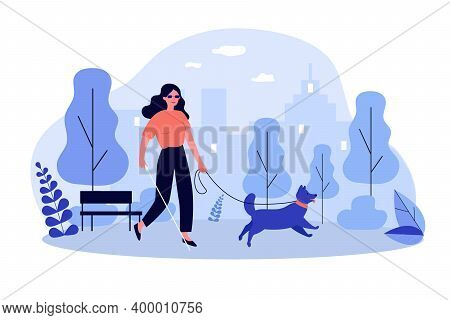Disabled Woman Walking With Guide Dog. Blind Person With Cane In City Park Flat Vector Illustration.