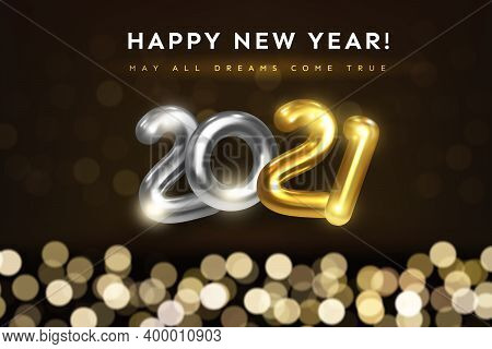 Happy New Year 2021 Greeting Card With Wishes Text. Festive Illustration Of Golden Metal Numbers 202