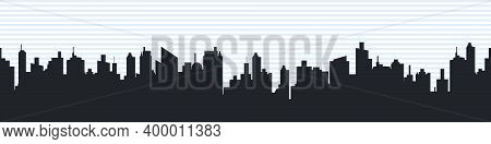 City Skyline Concept. Silhouette Of The City In A Flat Style. Modern Urban Landscape. City Skyscrape