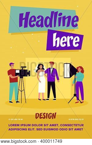 Happy Newly Married Couple Taking Wedding Photo. Bride, Camera, Groom Flat Vector Illustration. Even