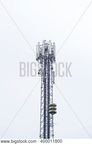 High Communications Mast With Several Antennas For Cellular Phone Communication